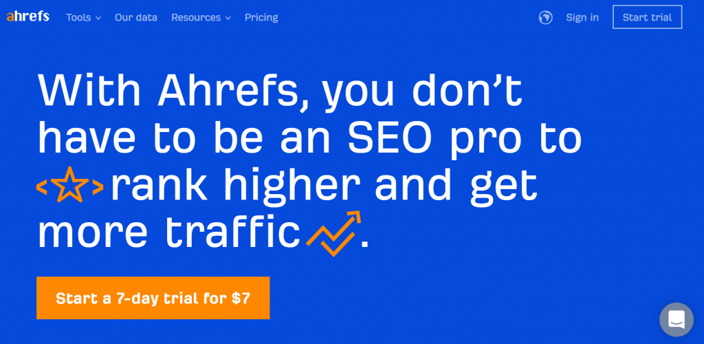 Ahrefs Home Page B2B Copywriting example