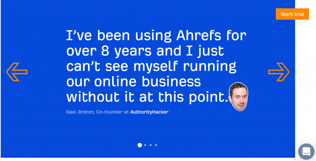 Ahrefs Home Page social proof #1