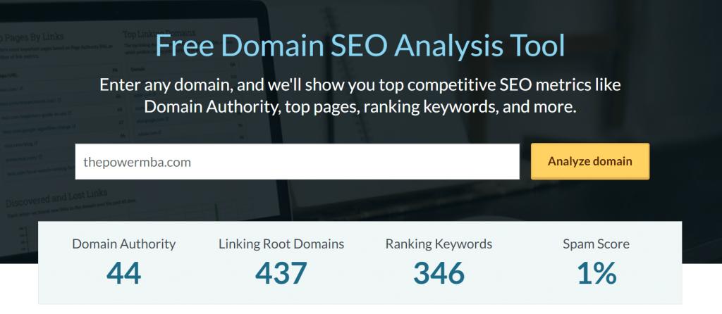 Domain Authority Score ThePowerMBA