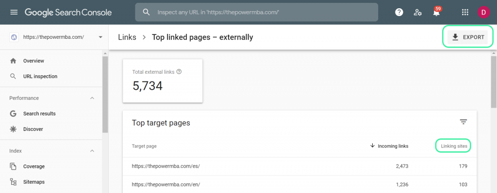 Google Search Console External Links