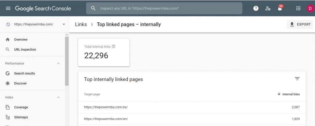 Internal Links Google Serch Console