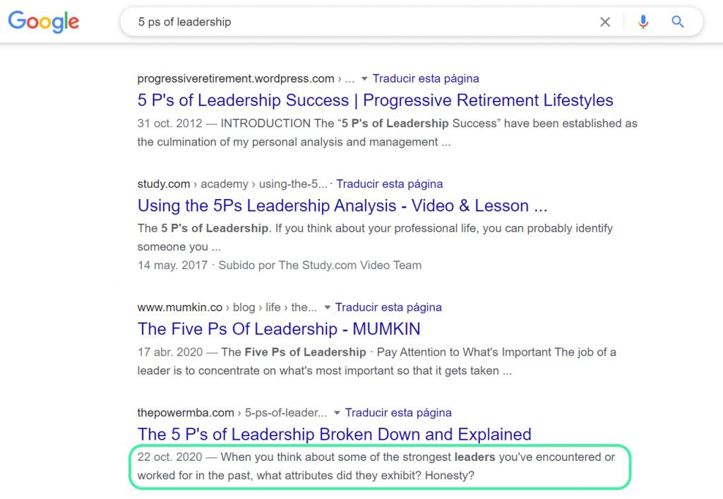 Meta Description Example 5Ps of Leadership