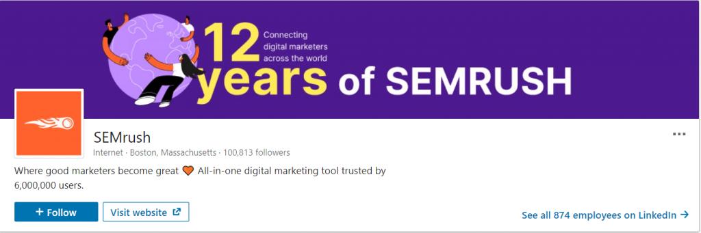 SEMrush LinkedIn followers