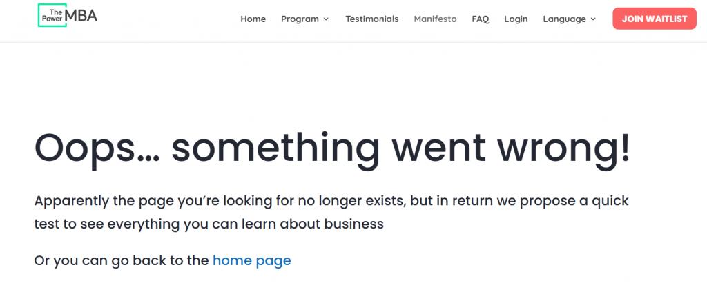 ThePowerMBA 404 Error Page