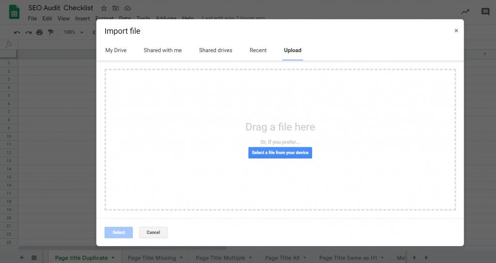 Upload Data Google Sheets