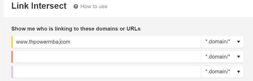 Ahrefs Link Intersect Tool