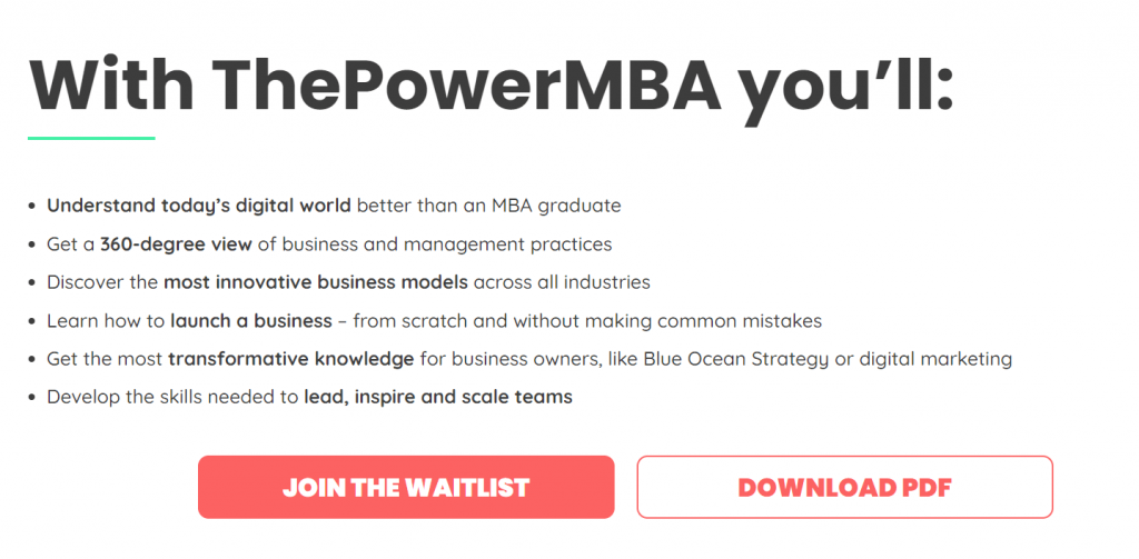 ThePowerMBA transitional call to action