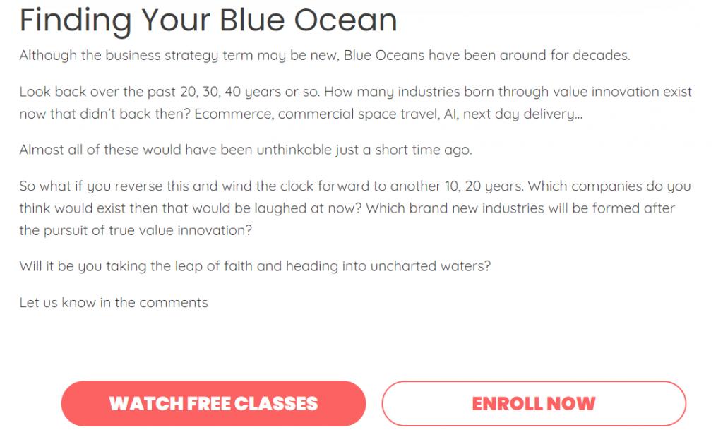 Blue ocean strategy CTA