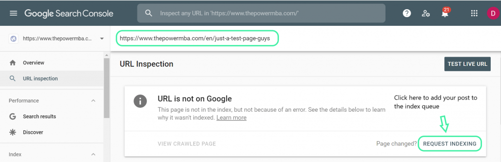 Google indexing example