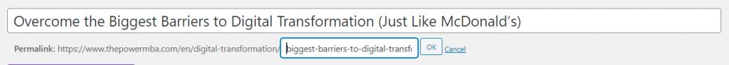 URL slug example