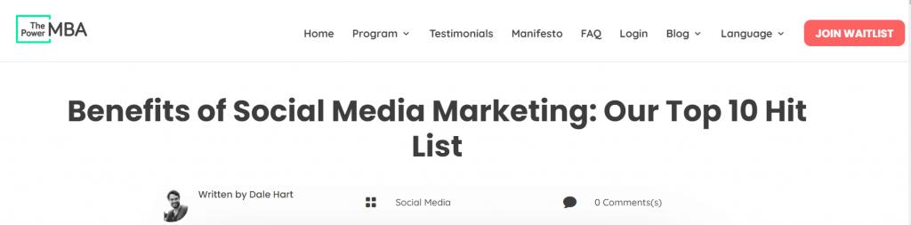 benefits of social media marketing H1