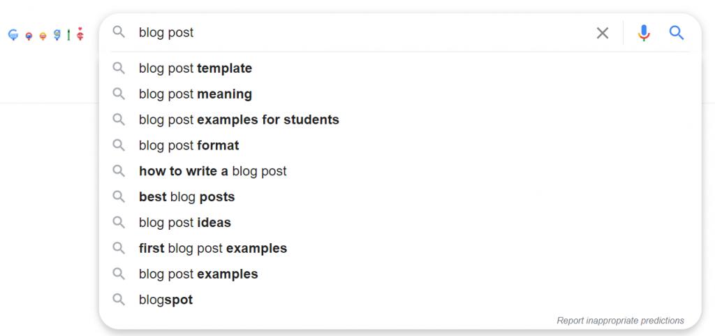 subcategories google recommendation