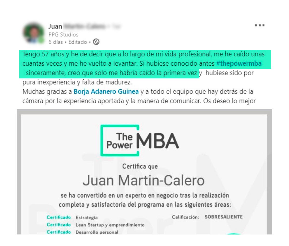 opinión de Juan sobre ThePowerMBA