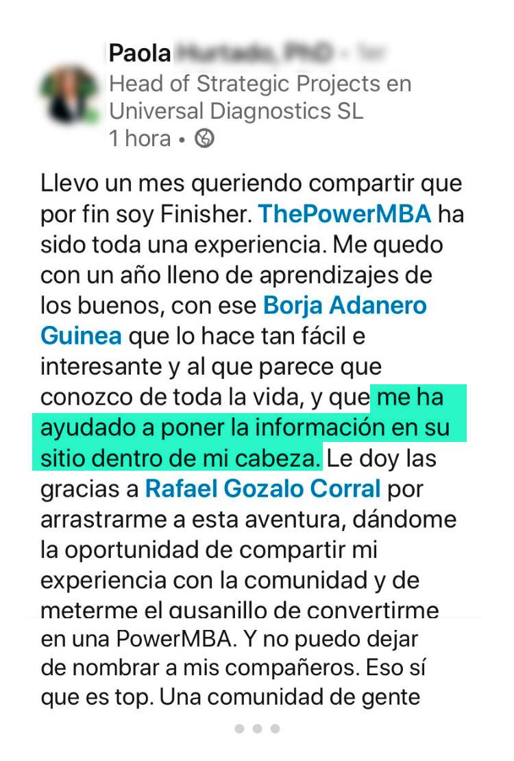 opinión de Paola sobre ThePowerMBA