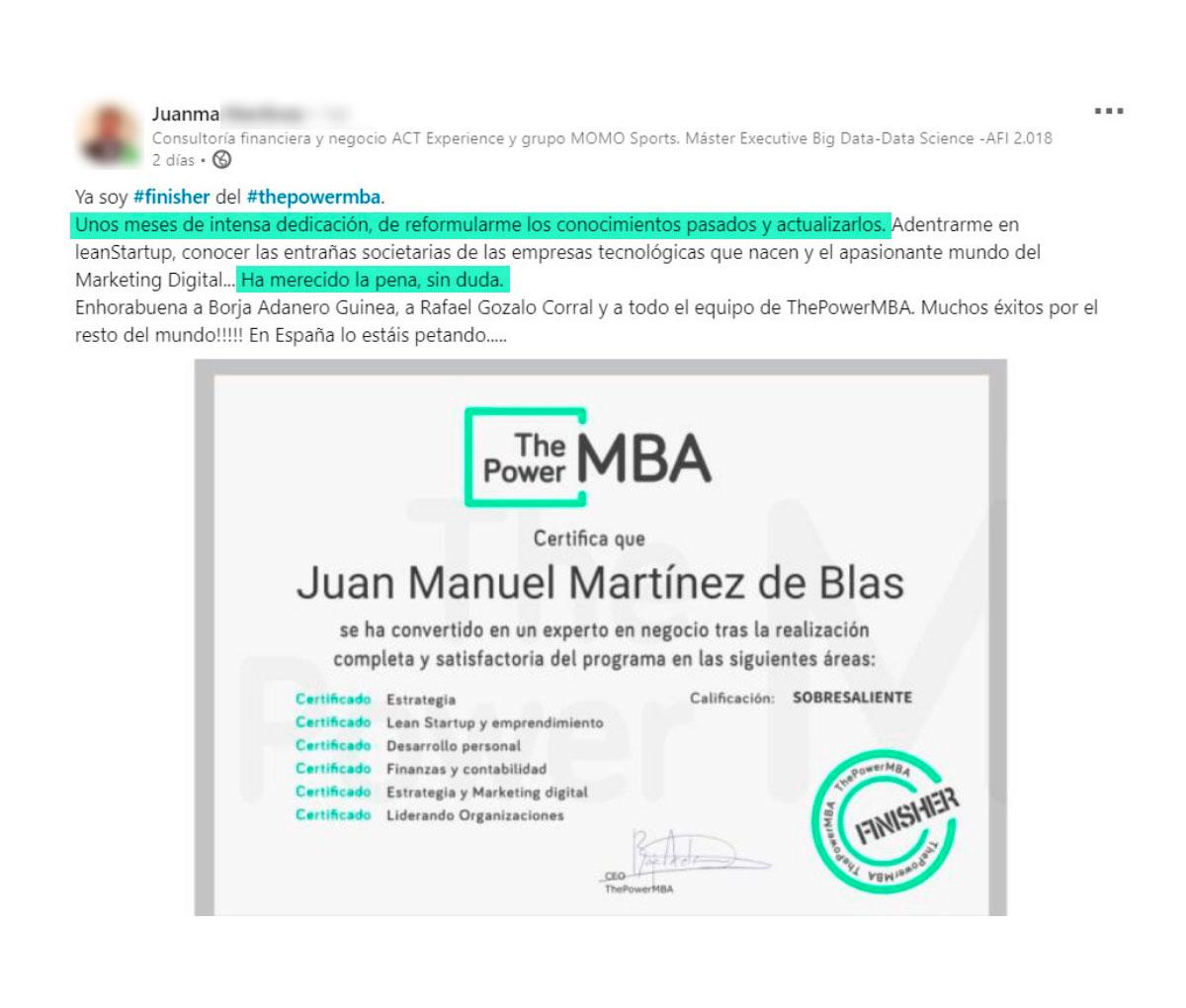 opinión de Juanma sobre ThePowerMBA